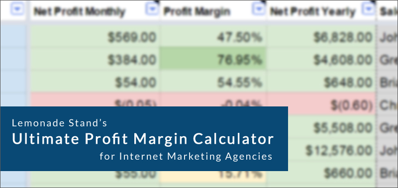 Calculate the profit margin for each of your clients